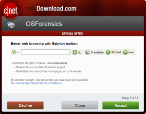 Screenshot of offer bundled into free software installation