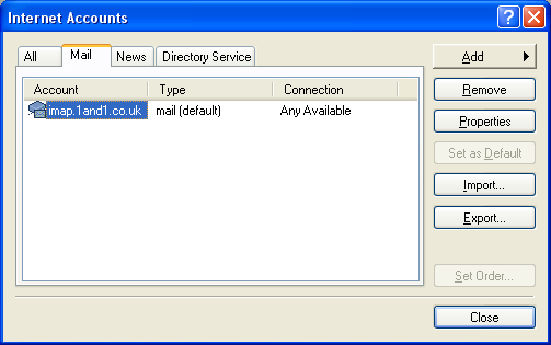 Outlook Express Accounts