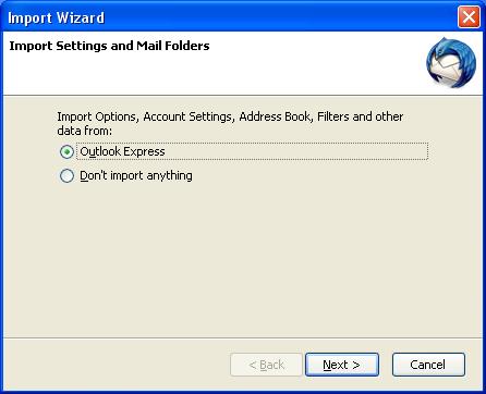 Thunderbird Outlook Express import